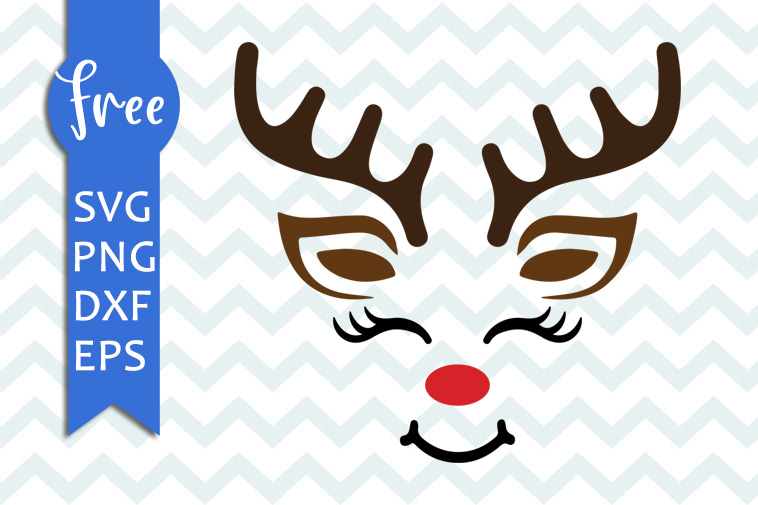 Reindeer Face Svg Free Christmas Svg Reindeer Svg Shirt Design Instant Download Free Vector Files Xmas Svg Free Png Dxf Eps 0170 Freesvgplanet